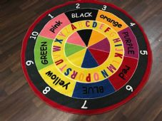 NEW COLOURS ABC 123 KIDS EDUCATIONAL CIRCLE 133X133CM MAT RUG SCHOOL MULTICOLOUR